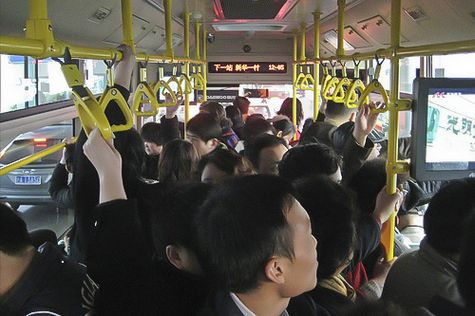 Commuting on a Bus in Shanghai China