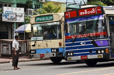Yangon Bus At Beginning of Indawgyi Lake Trip