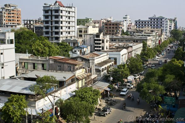 Downtown Mandalay in Myanmar