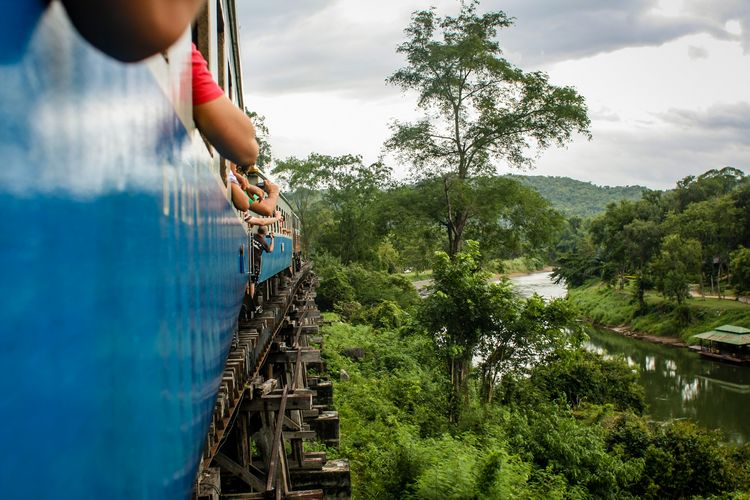 Death railway above river in Kanchanaburi Thailand