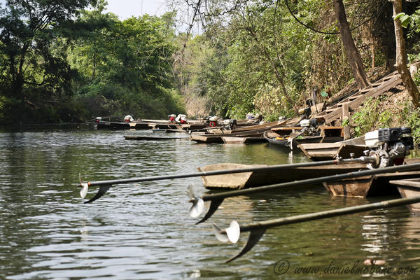 Boats Laos Jungle