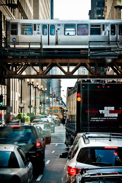 Loop Elevated Train in Downtown Chicago