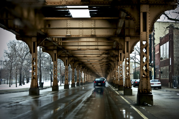 Rainy Day Under Chicago's El