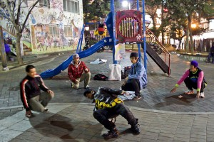 Large Drunk Bikers In Seoul's Hongdae Children's Park