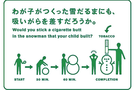 Cigarette Butt Snowman Japan