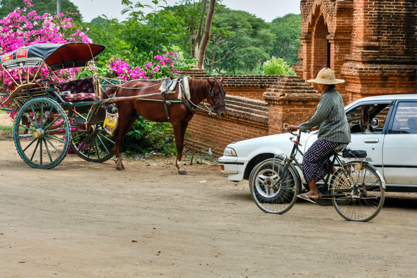 Horse cart, taxi and bicycle in Bagan, Myanmar