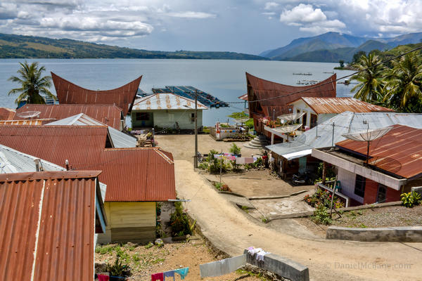 Batak village waterfront Lake Toba