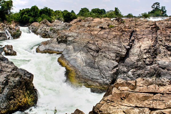 Waterfall in the Mekong in Laos