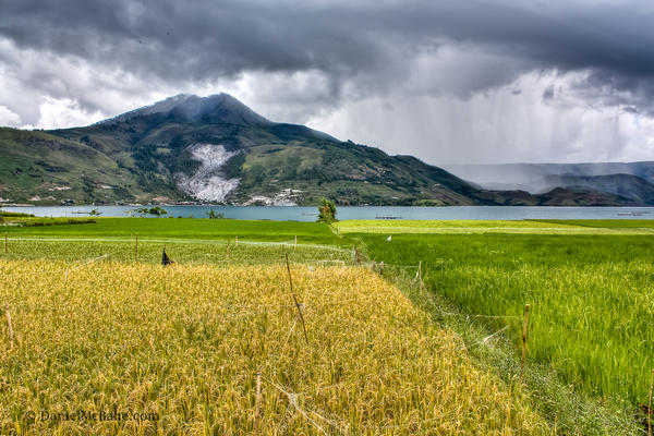 Rainstorm over Lake Toba in Indonesia