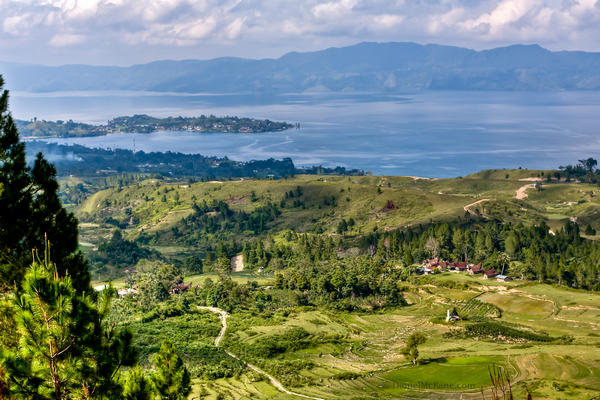 Tuktuk and Danau Toba from the hill on Samosir Island