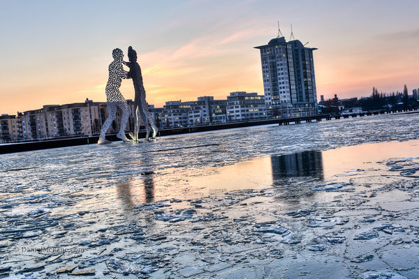 Molecule man in a frozen Spree River in Berlin