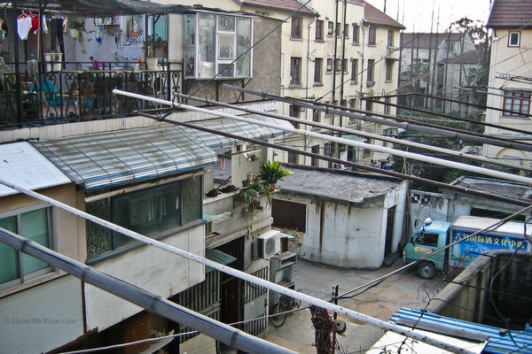 Alley behind apartment in Shanghai