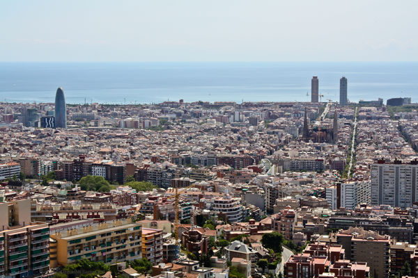 The skyline of Barcelona Spain