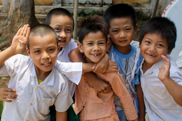 Children posing in Hsipaw Myanmar