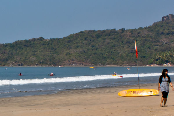 Sea kayaks on Palolem Beach in Goa, India