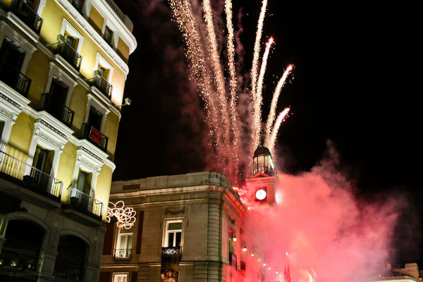 New Year's fireworks in Madrid