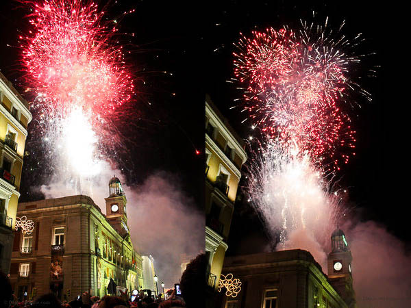 New Year's Eve fireworks in Madrid, Spain