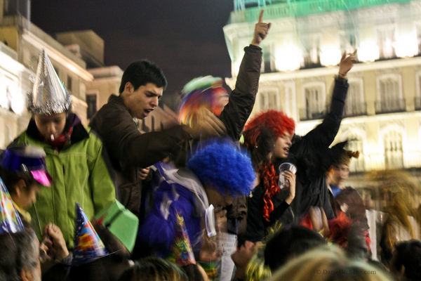 Spaniards partying on New Year's Eve in Madrid
