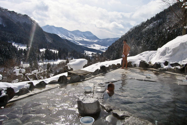 Outdoor hot spring in Japan