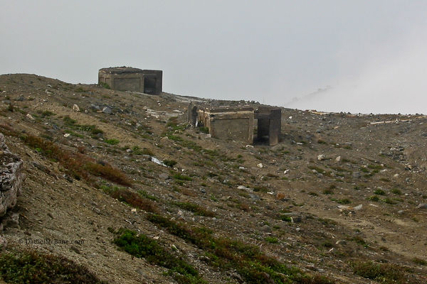 bunkers at the crater of Mt Aso in Japan