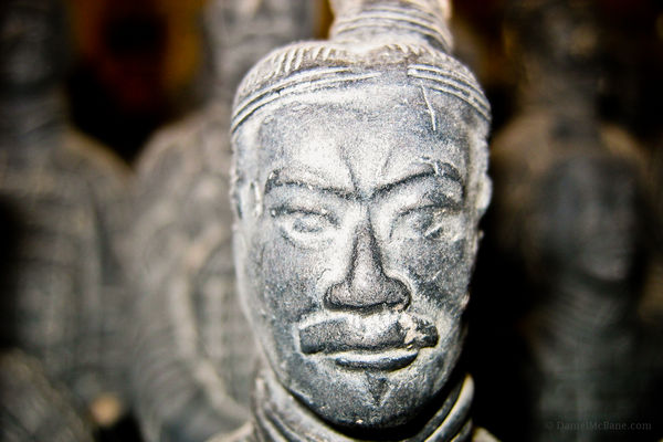 Closeup of a Terracotta warrior in Xi'an, China