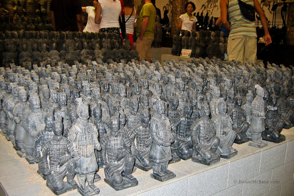 Terracotta warrior figurines sold at a Xi'an shop