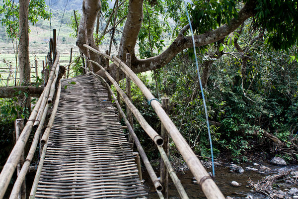 A bamboo bridge in rural Laos