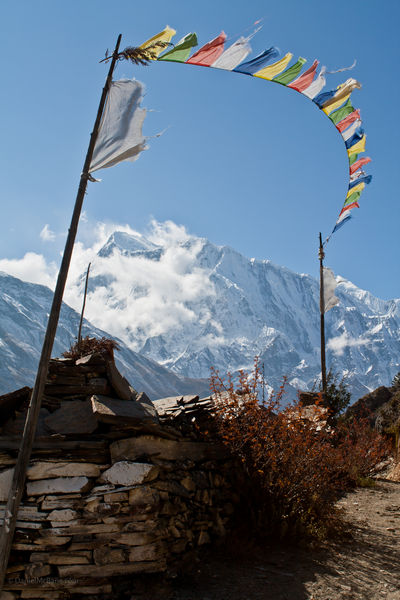 Prayer flags and Buddhist site, Annapurna, Nepal