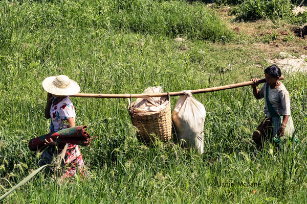 Women carrying goods to market in Inle, Myanmar