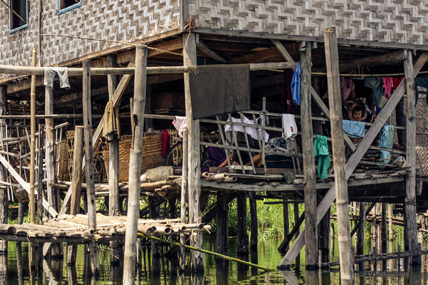 Storage space on a stilt house in Myanmar