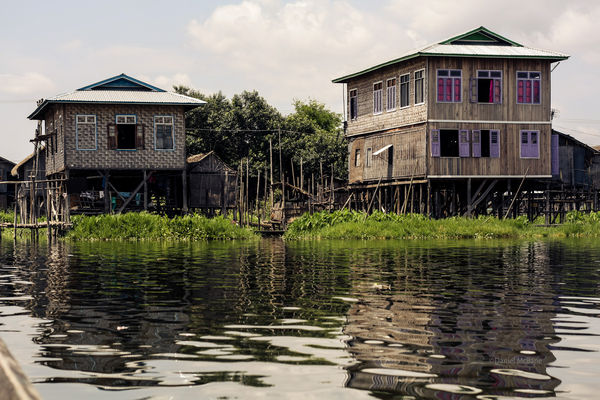Teak houses on stilts on Inle Lake in Burma