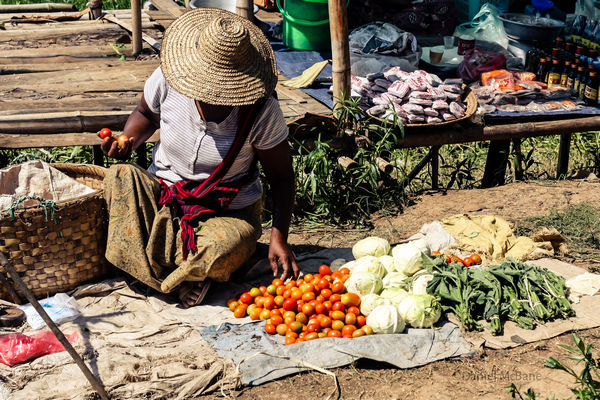 Female vegetable vendor in Ywama on Inle Lake, Myanmar