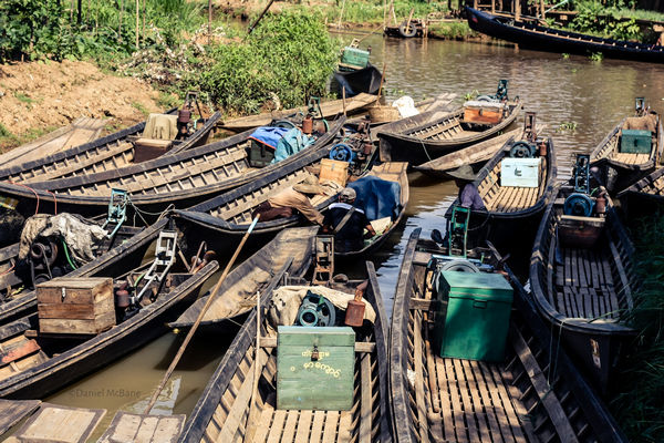 Boats parked in Ywama village on Inle Lake in Myanmar