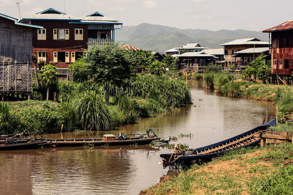 Canal in Ywama village on Inle Lake in Burma