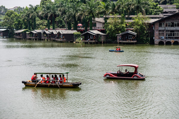 Rental boats on a lake in Shenzhen China
