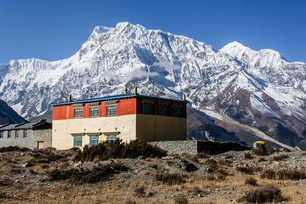 Monastery in front of Annapurna III Nepal