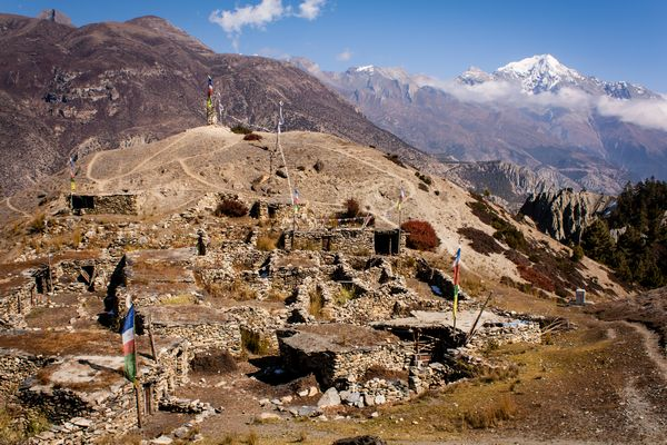 Abandoned village near Manang on Annapurna Circuit Nepal