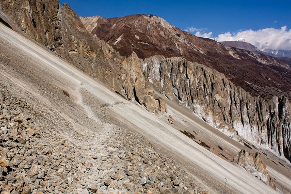Landslide area on Annapurna Circuit Trek