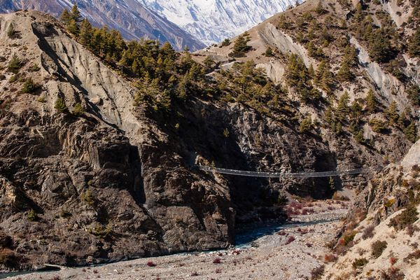 Suspension bridge Tilicho Annapurna Trek