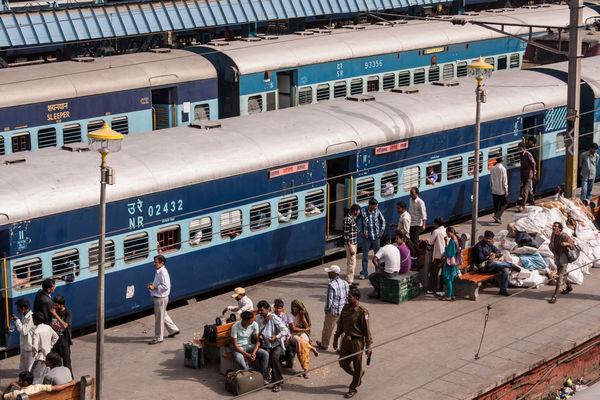 Indian train in Delhi Station