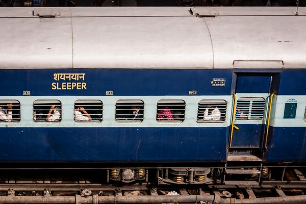 sleeper car on Indian train