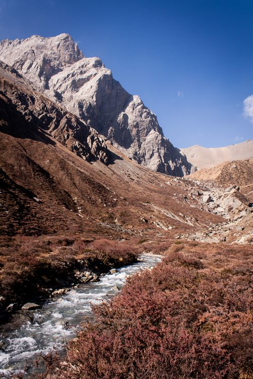 mountain stream behind the Tilicho Lake Basecamp