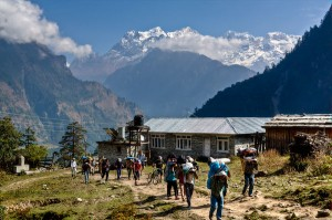 Porters near Koto on Annapurna Circuit