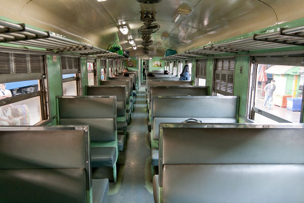 Interior of a 3rd class train in Thailand