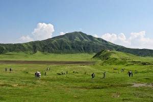 kusasenri meadow on Mt Aso on Kyushu, Japan