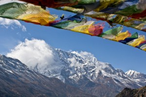 Prayer flags over the Annapurna range, Nepal