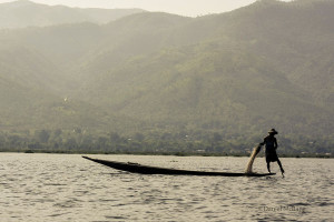 A leg rower on Inle Lake in Myanmar